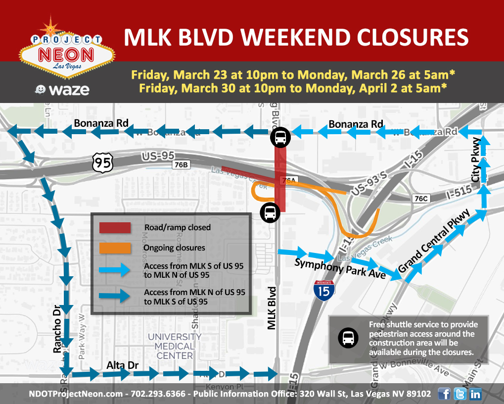 MLK closures and detours 3-23 and 3-30